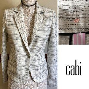 CAbi Black & White Tweed Blazer SZ 10 NWT